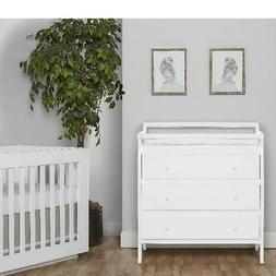 3-Drawer White Finish Changing Table W/ Comfy Mattress Pad H