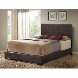 brown full faux leather upholstered bed frame