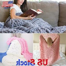 Chunky Knitted Blanket Area Rug Mat Thick Soft Yarn Mattress