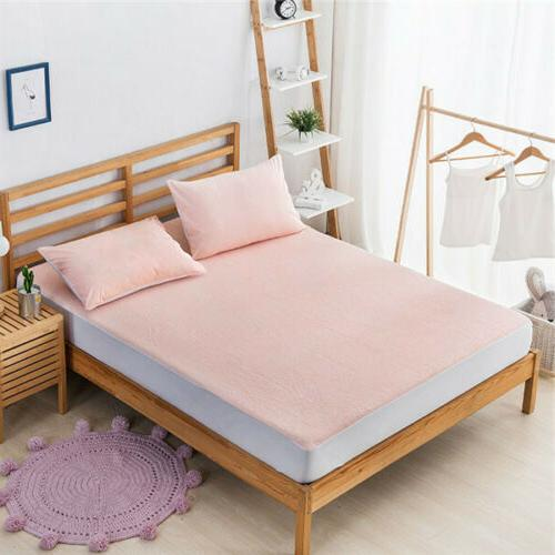 Cotton Waterproof Protector Fitted Bed Cover King Size