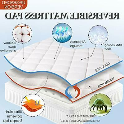 King Reversible Pad Cover Bed Mattress Topper Pillow Top with