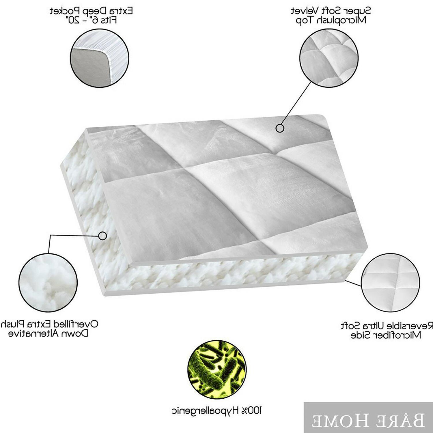 Luxury Mattress Topper Overfilled Pillow Top Reversible