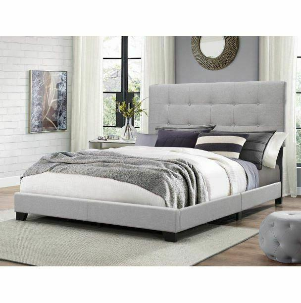 queen size fabric panel frame bed gray