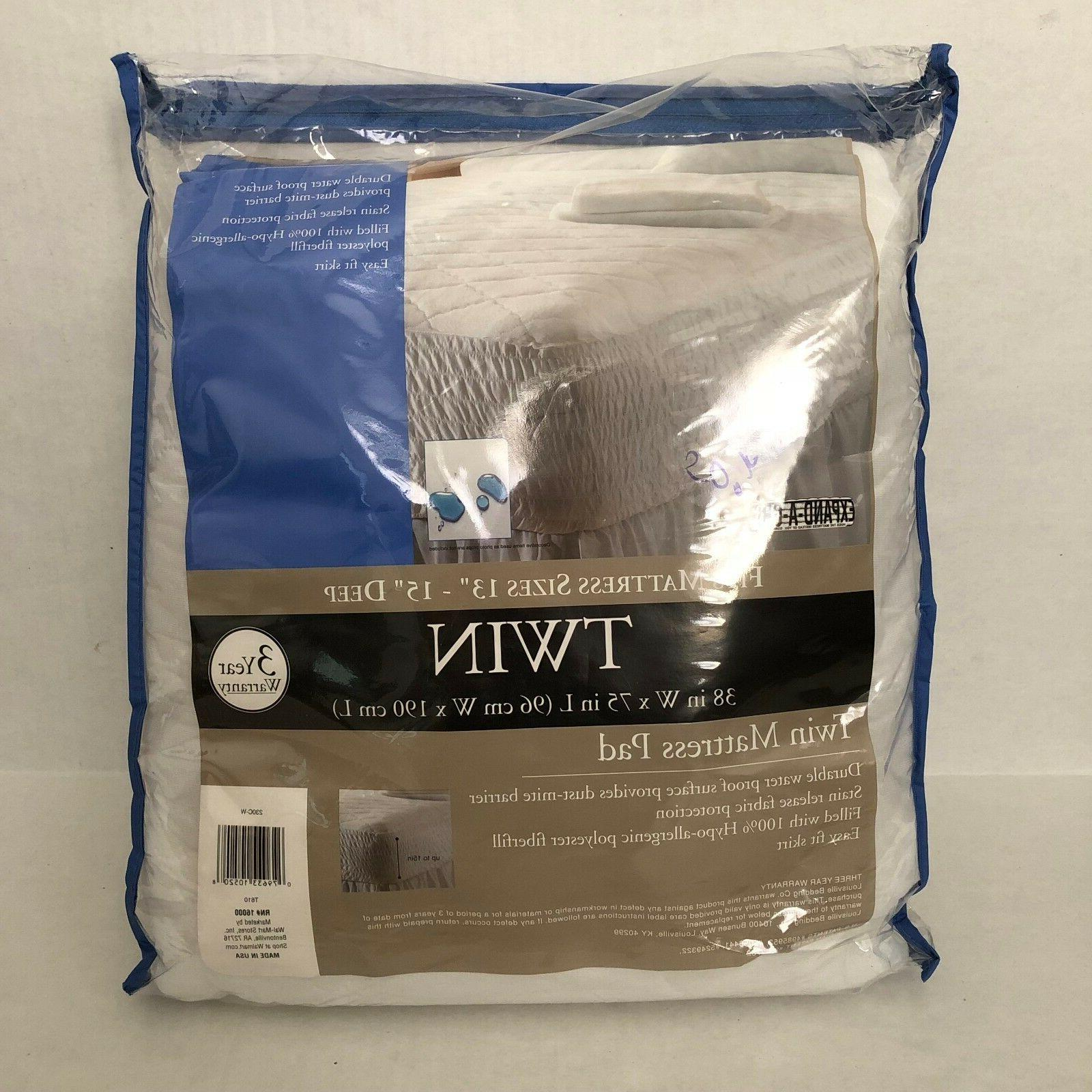 twin mattress pad waterproof stain release protection