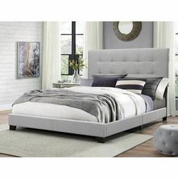 Queen Size Fabric Panel Frame Bed Gray Home Decor For Mattre